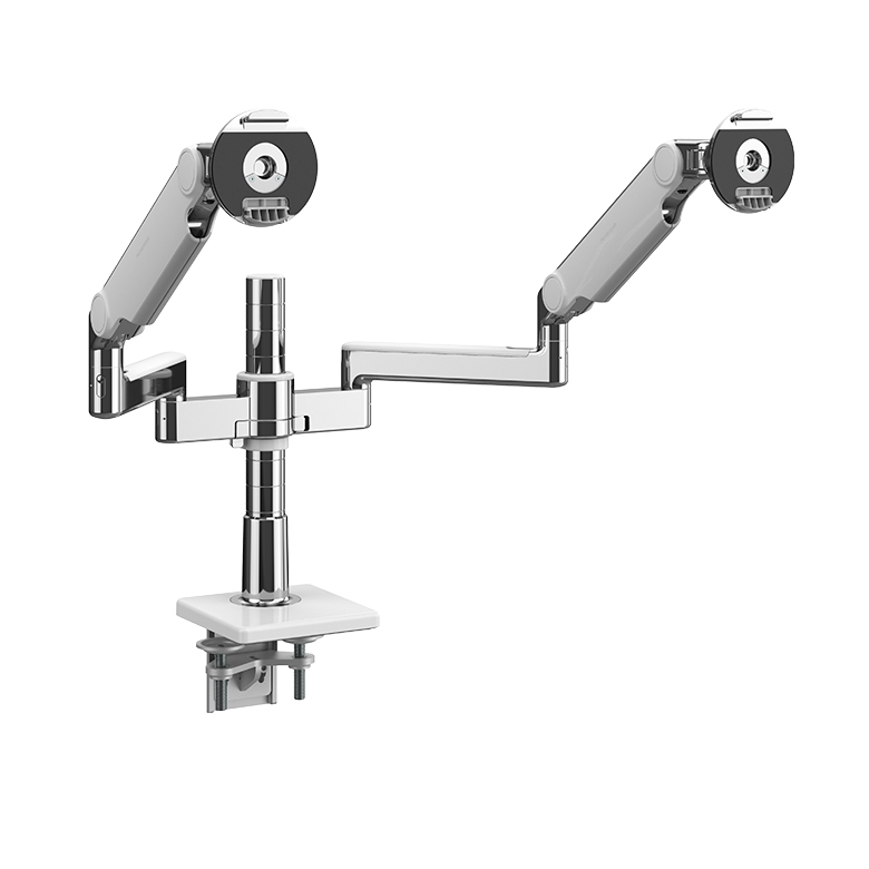 M/Flex with M2.1 Monitor Arms (2), Dual Arm Bracket, Two-Piece Clamp Mount, Polished Aluminium with White Trim