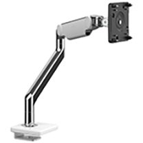 M2.1 Monitor Arm with 25mm Sliding Desk Clamp Mount, Polished Aluminium with White Trim