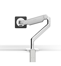 M2.1 MONITOR ARM WITH TWO-PIECE CLAMP MOUNT BASE, POLISHED ALUMINIUM WITH WHITE TRIM