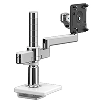 M/Flex with M2.1 Monitor Arm with Bolt-Thru Mount Base, Polished Aluminium with White Trim