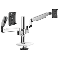 M/Flex with Dual M2.1 Monitor Arm with Bolt-Thru Mount, Polished Aluminium with White Trim