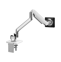 M2.1 Monitor Arm with Dual Desk Mount and Clamp Mount, Polished Aluminium with White Trim