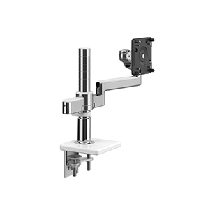 M/Flex with M2.1 Monitor Arm, Dual Arm Bracket, Two-Piece Clamp Mount, Polished Aluminium with White Trim