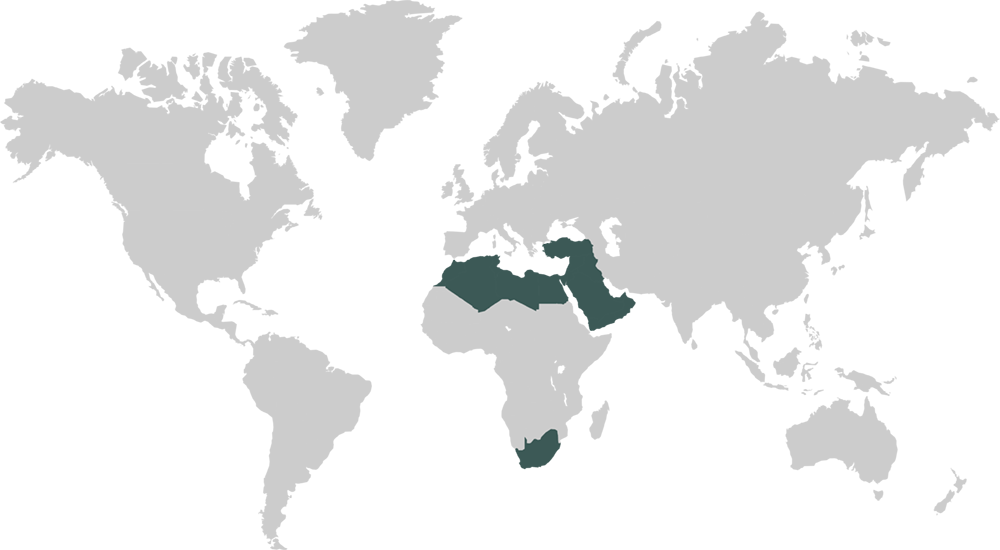 World Map Featuring Middle East & Africa